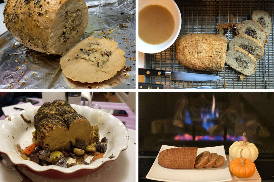 Clockwise from top left: Tofurky Stuffed Roast, Trader Joe's Breaded Turkey-less Stuffed Roast With Gravy, Field Roast Hazelnut Cranberry Roast En Croute, No Evil Foods The Pardon. Photo: Bloomberg Photos (clockwise From Top Left) By Olivia Rockeman, Kate Krader, Andres R. Martinez And Pam Roux. / The Washington Post