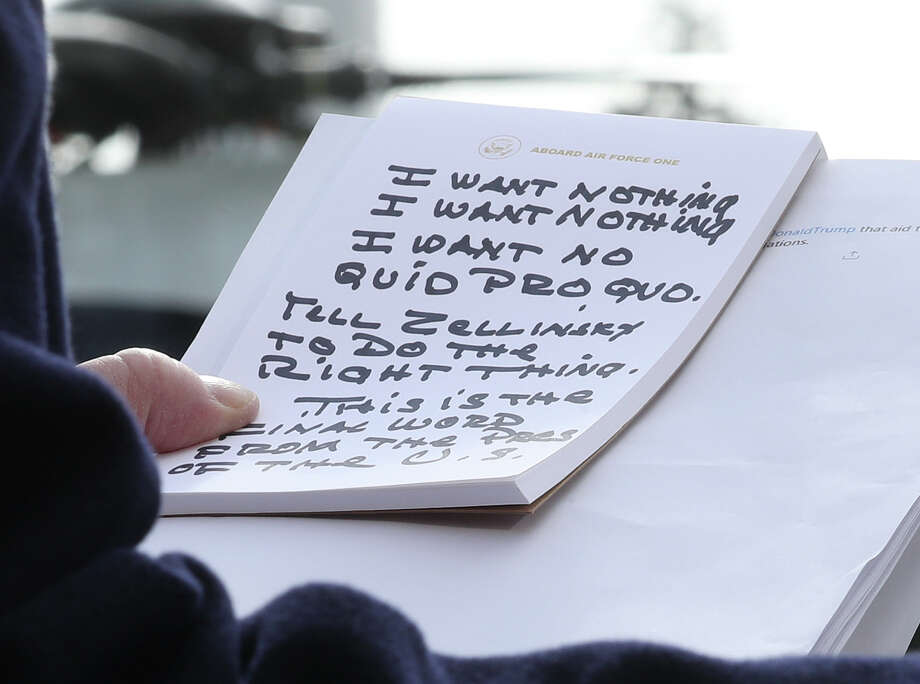 President Donald Trump holds his notes while speaking to the media before departing from the White House on November 20, 2019 in Washington, DC. President Trump spoke about the impeachment inquiry hearings currently taking place on Capitol Hill. (Photo by Mark Wilson/Getty Images) Photo: Mark Wilson/Getty Images / 2019 Getty Images