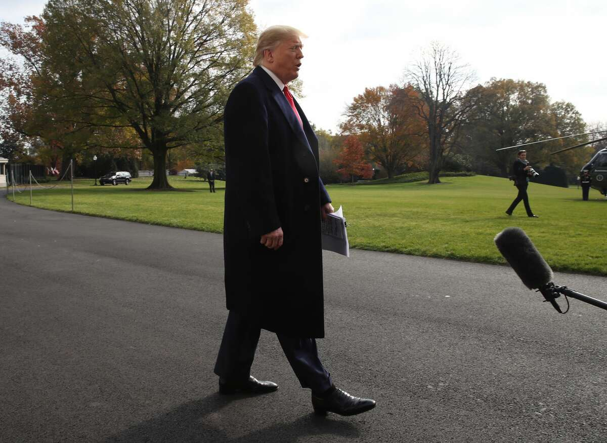 President Donald Trump speaks to the media before departing from the White House on November 20, 2019 in Washington, DC. President Trump spoke about the impeachment inquiry hearings currently taking place on Capitol Hill. (Photo by Mark Wilson/Getty Images)