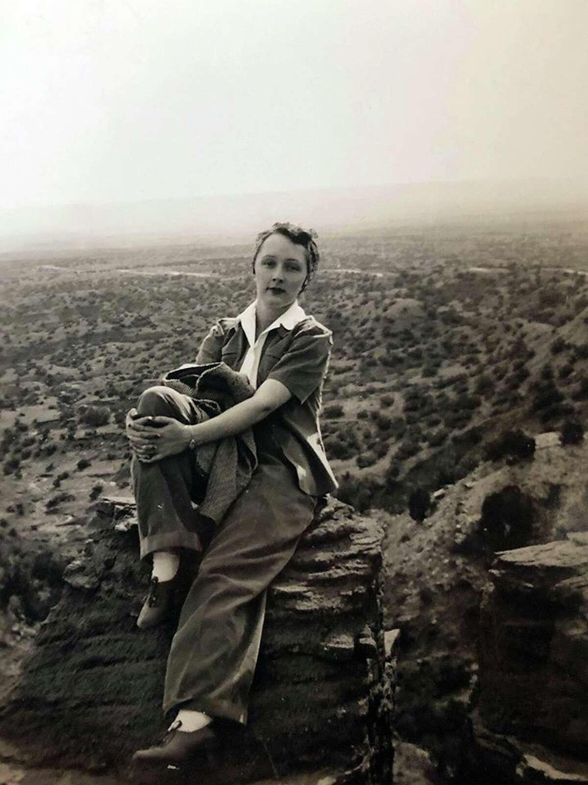 TOT: Traces of Texas reader Cara Yarborough thoughtfully sent in this nifty photo of her grandmother, Norma Jim Cornett McCullough, at Palo Duro Canyon back in 1947. It serves as a reminder that it's been far too long since I've been there.