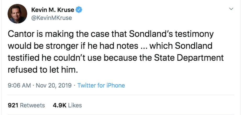Ambassador Gordon Sondland testified before the House impeachment inquiry on Nov. 20, 2019. Photo: Screenshot Via Twitter