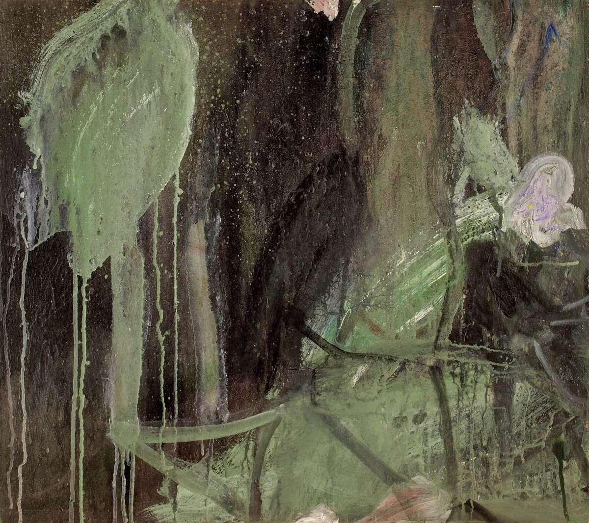 "Claude Carone's ""Night Twist"", 2018, polymer on wood, 24 x 27 inches, at John Davis Gallery."