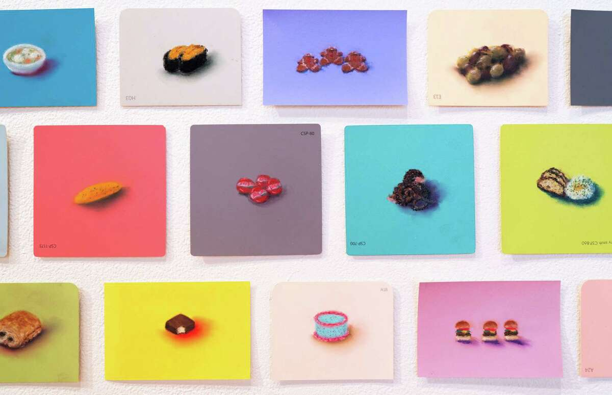Mie Yim, Food Drawings, 2010-2019. Pastel on Martha Stewart and Benjamin Moore paint chips and Color-aid paper (detail). Photo by William Jaeger