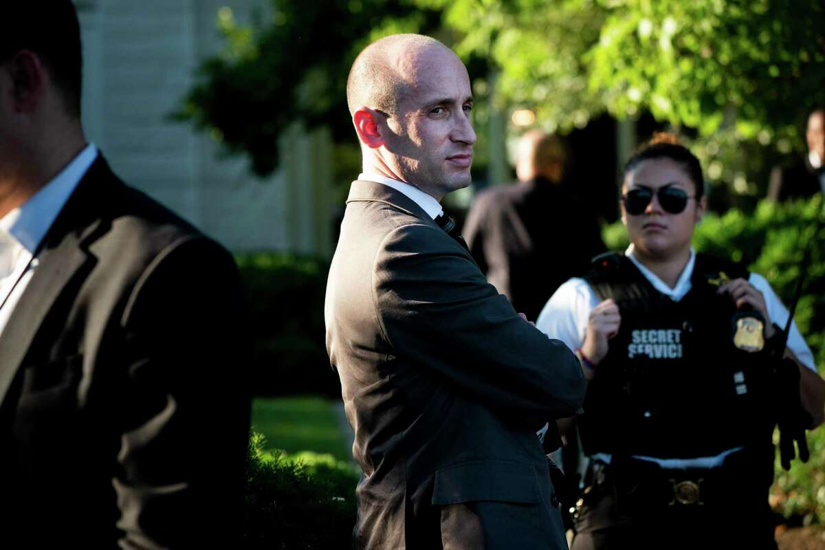 FILE -- White House senior adviser Stephen Miller at the Congressional Picnic at the White House in Washington, June 21, 2019. Newly released emails show President Trump?•s chief immigration adviser, Miller, was a young Senate aide who promoted his anti-immigrant views by referring to white nationalist magazines. (Erin Schaff/The New York Times)