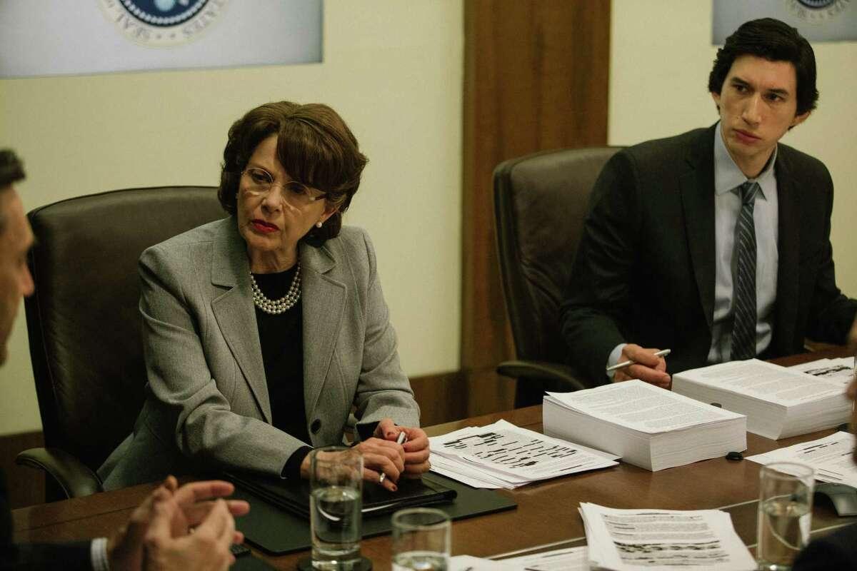 Annette Bening as Sen. Dianne Feinstein and Adam Driver as Congressional staffer Daniel Jones in the new political drama