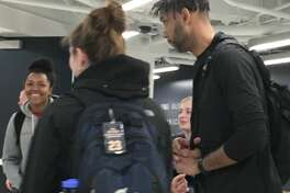 Assistant coach Tim Duncan and other members of the Spurs took time to mingle with members of the George Washington University women's basketball team after shootaround Monday at the Charles E. Smith Center.
