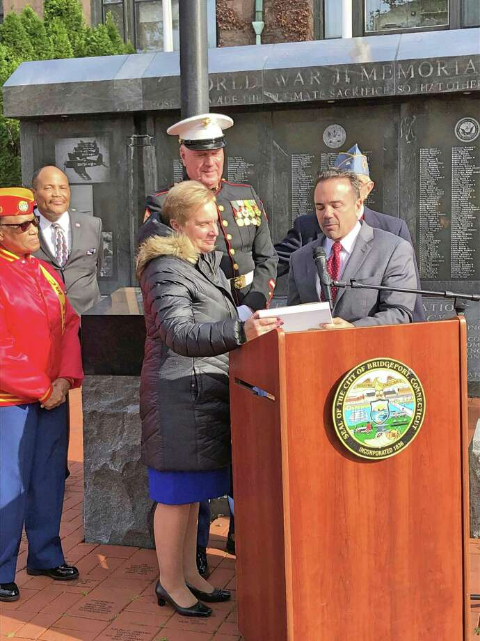 Former Trumbull First Selectman Ray Baldwin received the Stephen Koteles Award from the Greater Bridgeport Veterans Council on Veterans Day. The award is given for lifetime service to veterans issues and the community. Photo: Submitted / Trumbull Times