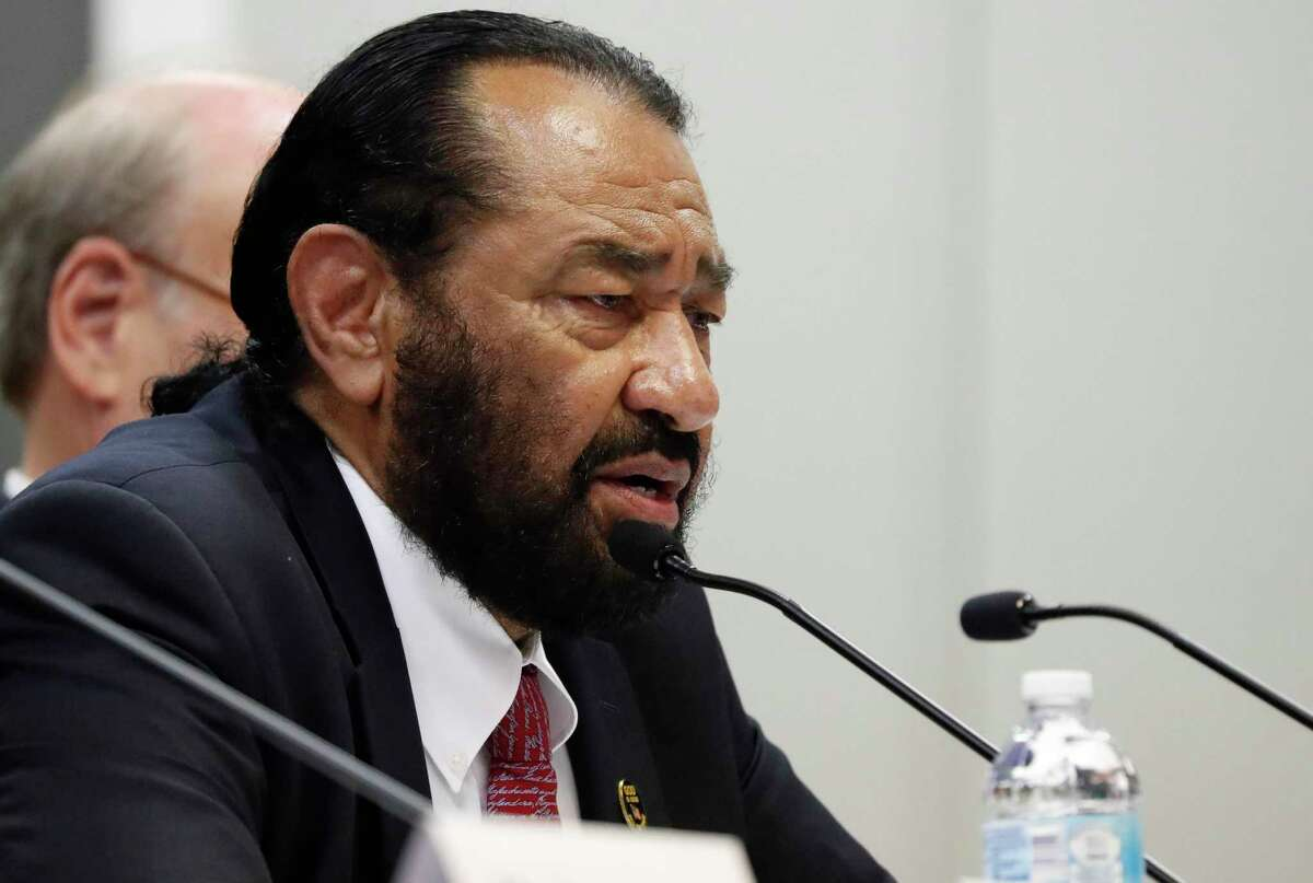 House Homeland Security Committee member U.S. Rep. Al Green, D-Tex., questions witnesses (unseen) on the effects of a Aug. 7, 2019 ICE raid in Mississippi which resulted in nearly 700 workers being arrested at seven chicken processing plants, during a field hearing at Tougaloo College, in Jackson, Miss., Thursday, Nov. 7, 2019. (AP Photo/Rogelio V. Solis)