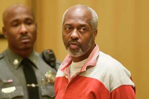Stamford's Robert Simmons, 51, is arraigned on charges of murder, felony murder and home invasion at Connecticut Superior Court in Stamford, Conn. Wednesday, Nov. 20, 2019. Simmons allegedly murdered 93-year-old Isabella Mehner in her Stamford South End home on Sept. 25. According to the medical examiner, Mehner's injuries were not consistent with a fall down the stairs, and Simmons was identified as a suspect in the homicide using DNA analysis to match a spot of blood found on his pants to Mehner.