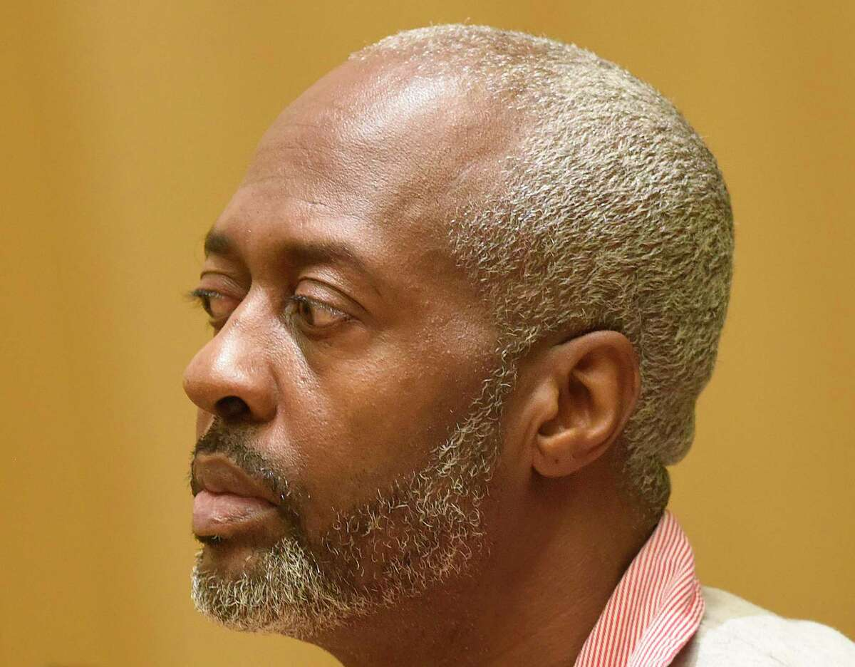 Stamford's Robert Simmons, 51, is arraigned on charges of murder, felony murder and home invasion at Connecticut Superior Court in Stamford, Conn. Wednesday, Nov. 20, 2019. Simmons is charged with murdering 93-year-old Isabella Mehner in her Stamford South End home on Sept. 25. According to the medical examiner, Mehner's injuries were not consistent with a fall down the stairs, and Simmons was identified as a suspect in the homicide using DNA analysis to match a spot of blood found on his pants to Mehner.