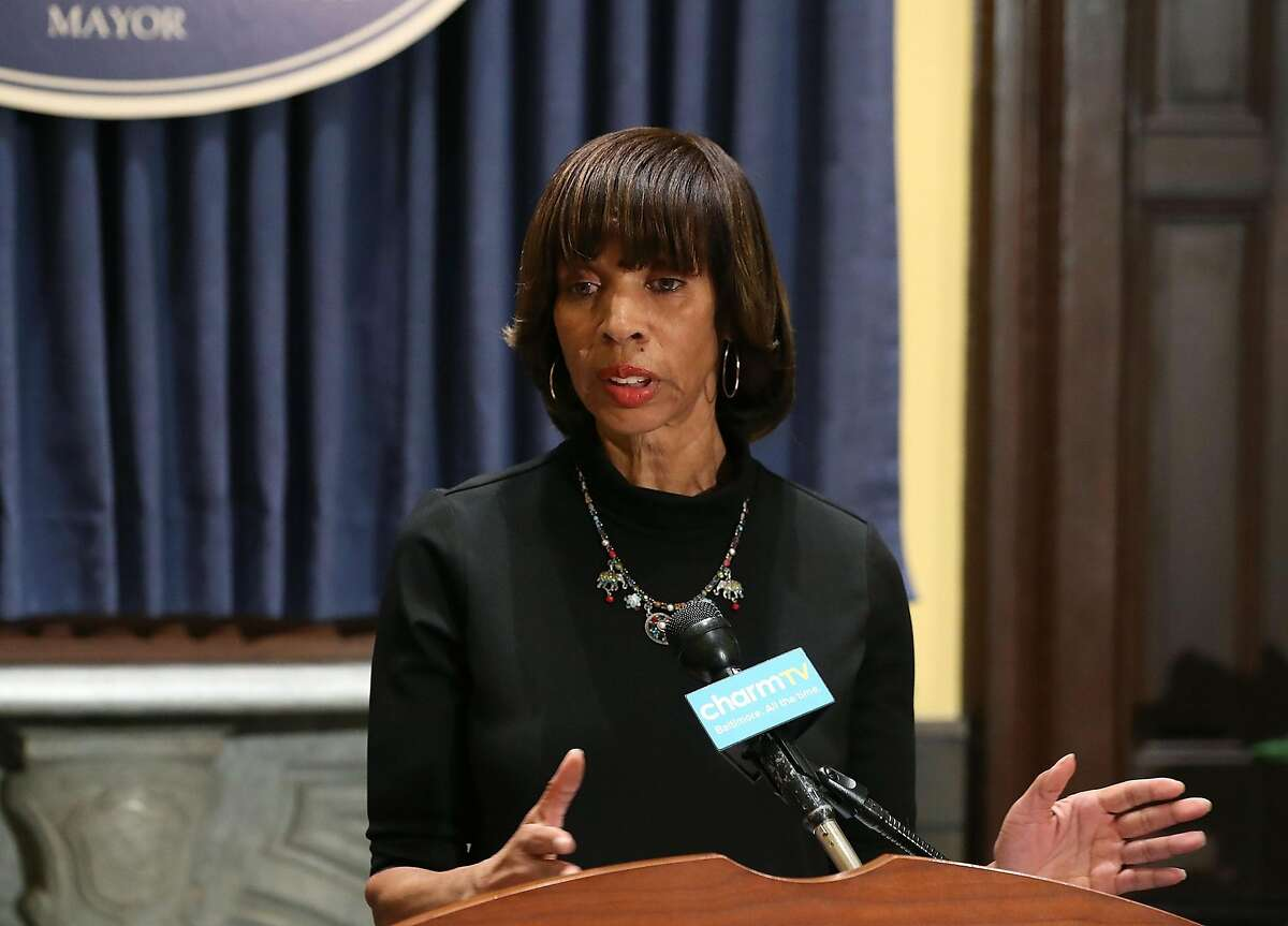 BALTIMORE, MD - AUGUST 16: Baltimore Mayor Catherine Pugh talks about the late night removal of four confederate statues in the city, on August 16, 2017 in Baltimore, Maryland. The City of Baltimore removed four statues celebrating confederate heroes from city parks overnight, following the weekend's violence in Charlottesville, Virginia. (Photo by Mark Wilson/Getty Images/TNS)