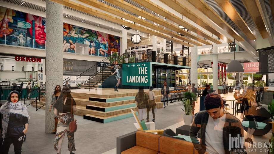 Here's a design rendering of Oakland Assembly at 55 Harrison St. in Jack London Square. The food mall is expected to open in summer 2020 with a full offering of exciting and notable local favorites. Photo:  Image Courtesy Of JRDV