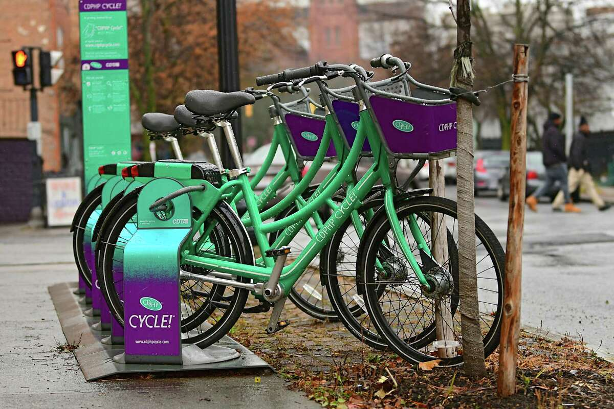 A CDTA bike stand is seen on Madison Ave. on Wednesday, Nov. 20, 2019 in Albany, N.Y. (Lori Van Buren/Times Union)