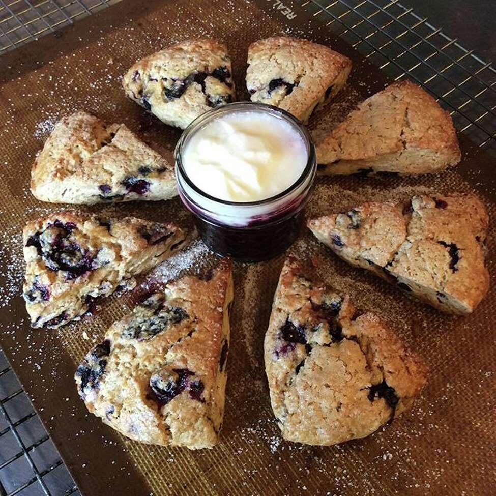 Blueberry scones with blueberry compote and organic yogurt from Common Crumb Artisan Bakery Craft Coffee in Brunswick, N.Y.