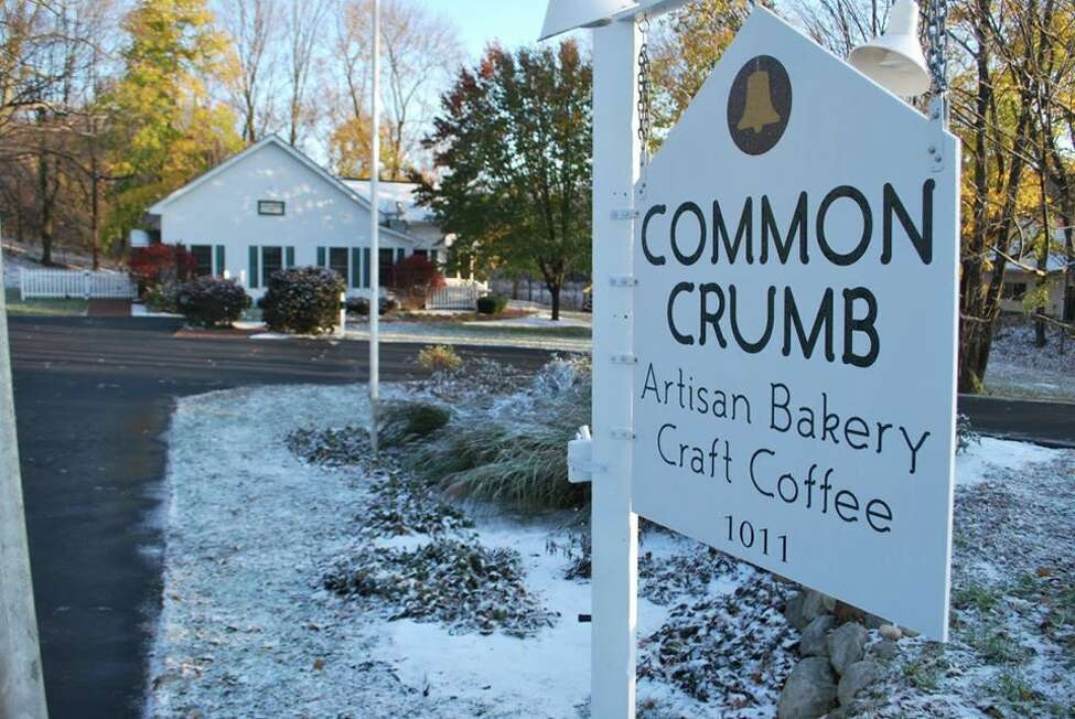 A sign outside from Common Crumb Artisan Bakery Craft Coffee in Brunswick, N.Y.