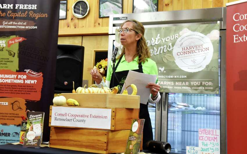 Bernadine Wiesen, executive director of the Rensselaer County Cornell Cooperative Extension, announces the new Harvest Connection app from the cooperative which helps connect consumers with local farm stands and markets on Wednesday, Nov. 20, 2019, at Engel's Acres in Brunswick, N.Y. (Will Waldron/Times Union)