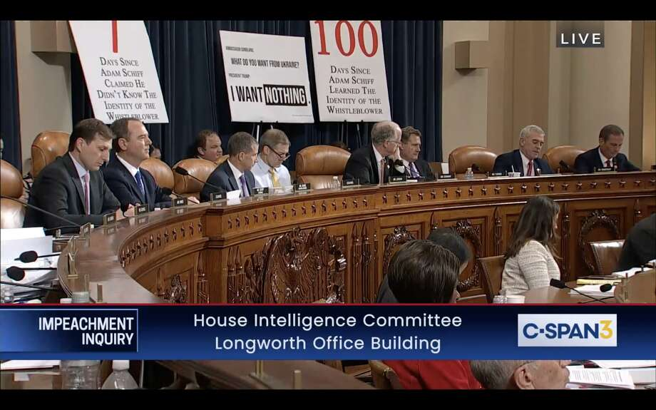 Signs erected by Republican House representatives are seen during the impeachment inquiry hearing with Ambassador Gordon Sondland on Nov. 20, 2019. Photo: C-SPAN