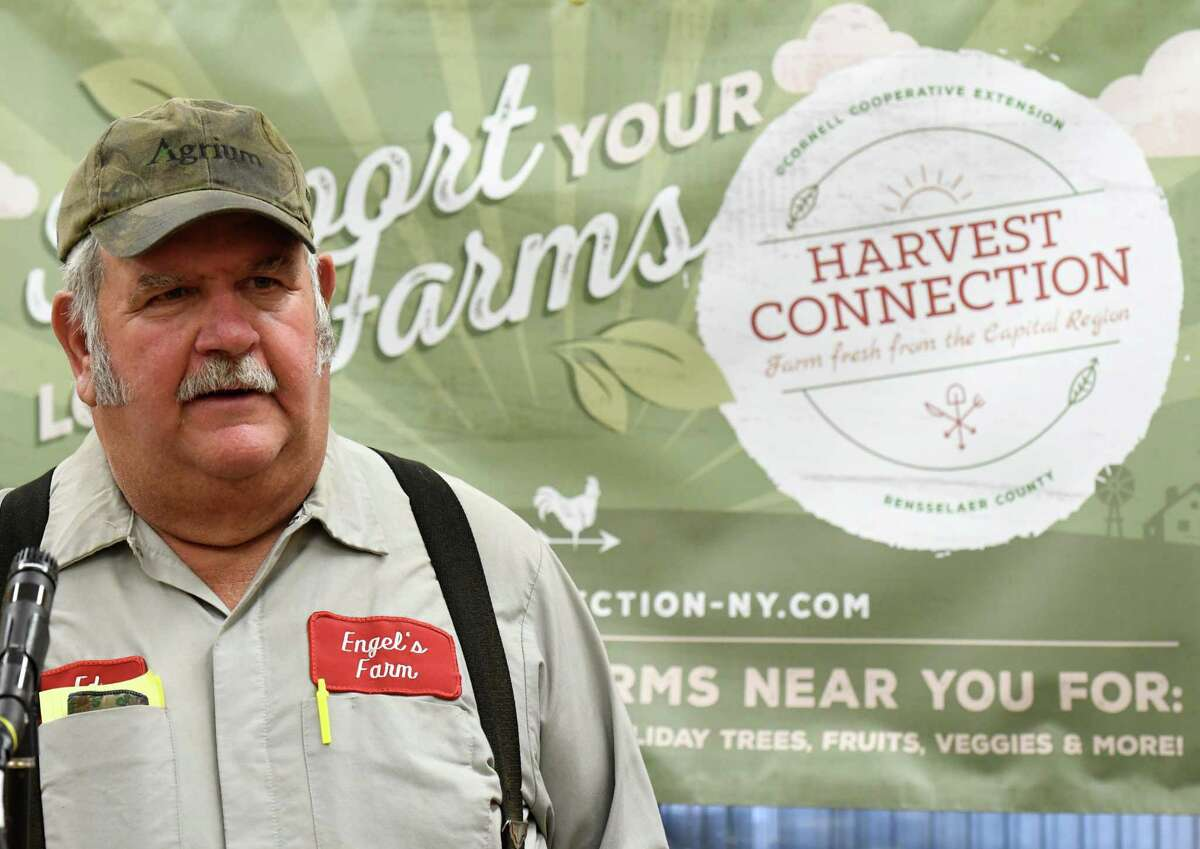 Farmer Ed Engle, Engel's Acres, speaks during the announcement of the new Harvest Connection app from the Cornell Cooperative Extension on Wednesday, Nov. 20, 2019, at Engel's Acres in Brunswick, N.Y. The app helps connect consumers with local farm stands and markets. (Will Waldron/Times Union)