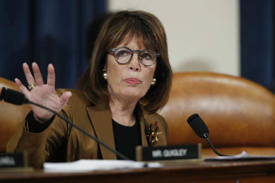 Rep. Jackie Speier, D-Calif, questions Ambassador Kurt Volker, former special envoy to Ukraine, and Tim Morrison, a former official at the National Security Council, as they testify before the House Intelligence Committee on Capitol Hill in Washington, Tuesday, Nov. 19, 2019, during a public impeachment hearing of President Donald Trump's efforts to tie U.S. aid for Ukraine to investigations of his political opponents.