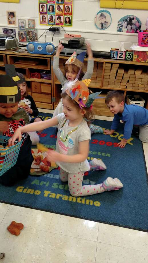 B'nai Torah Nursery School students act out the story of the first Thanksgiving. Photo: Contributed Photos