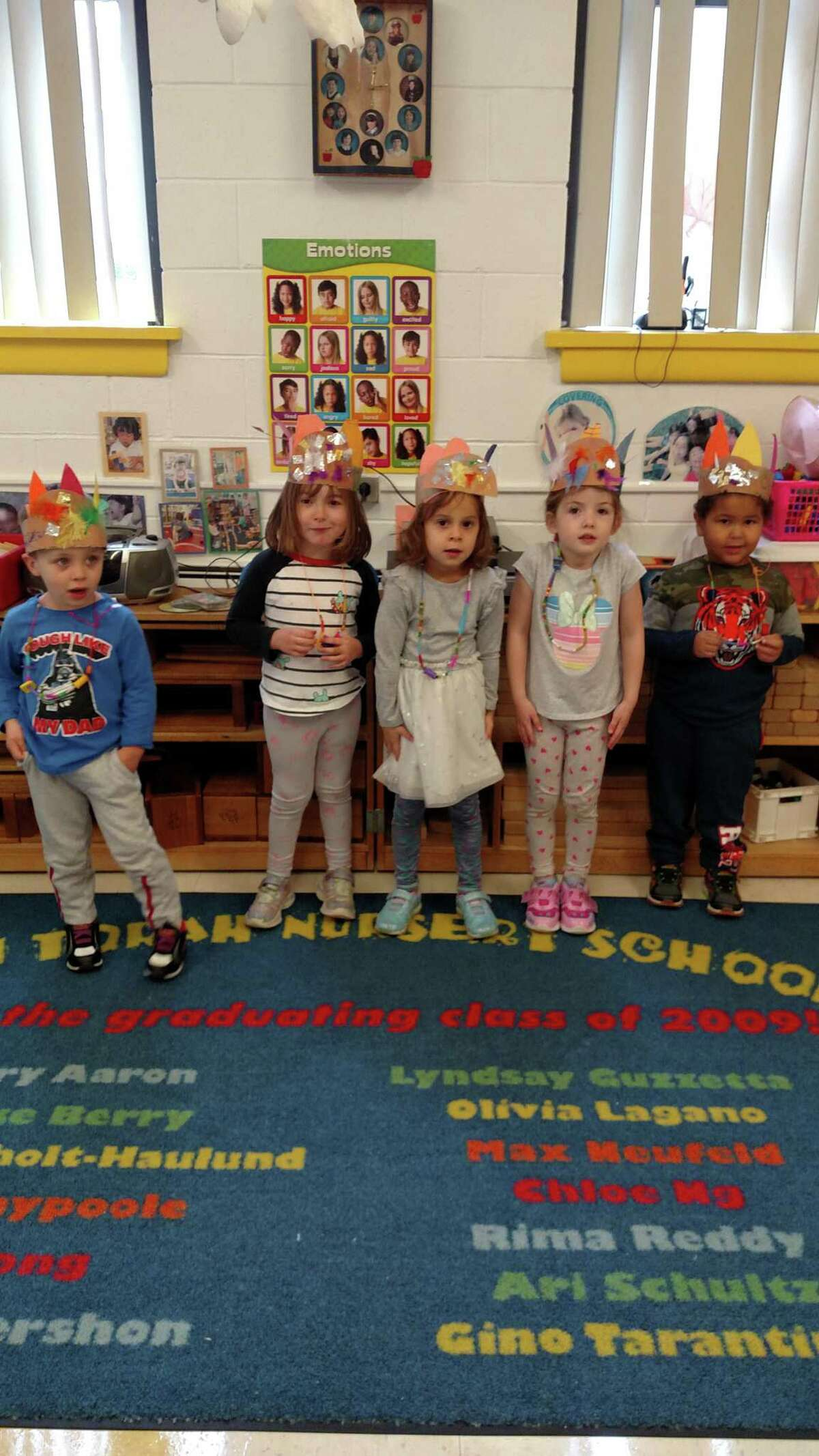 B'nai Torah Nursery School students act out the story of the first Thanksgiving.
