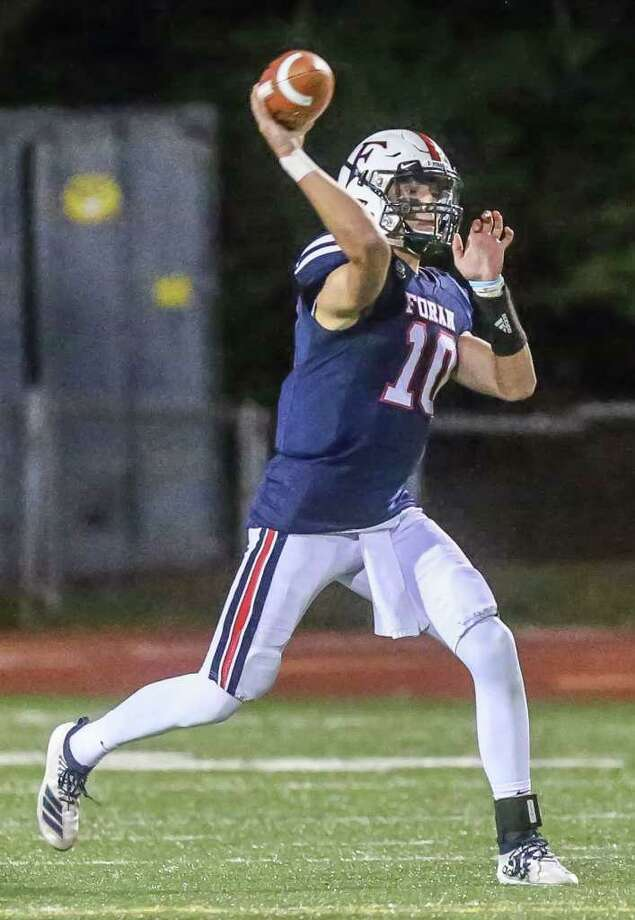 Foran quarterback Andrew Janik passed for 364 yards in the game with Hillhouse. Photo: John Vanacore / Hearst Connecticut Media / Milford Mirror