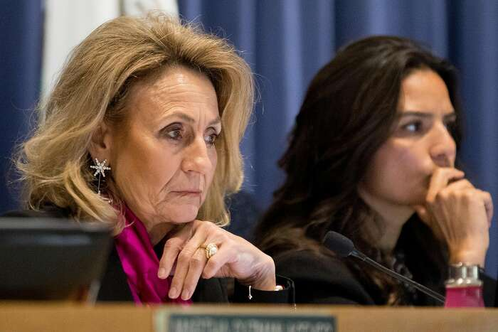 California Public Utilities Commission President Marybel Batjer listens during a hearing surrounding the loss of internet and wireless service providers during recent PG&E Public Safety Power Shutoffs held in San Francisco, Calif. Wednesday, Nov. 20, 2019.