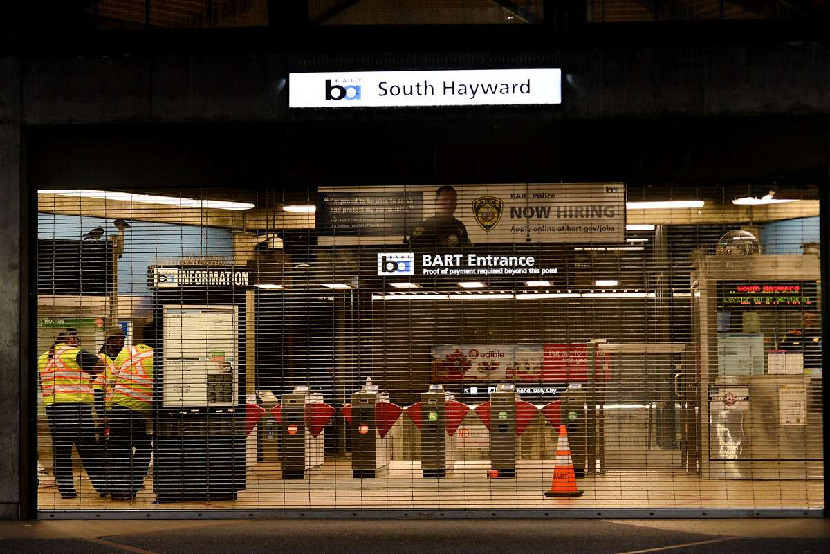 BART Police shut down the South Hayward BART Station after a homicide on one of the transit system's trains on November 20, 2019 in Hayward, Calif.