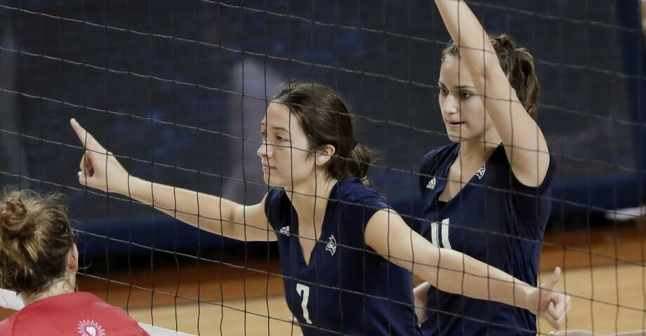 Rice Owls volleyball team members Grace Morgan (7) and Nicole Lennon (11) wait for the serve during their game against Loyola Marymount taking place along side the inaugural S.T.E.M. and ESPORTS conference held at the Tudor Fieldhouse at Rice University Saturday, Sept. 7, 2019 in Houston, TX. Photo: Michael Wyke/Contributor