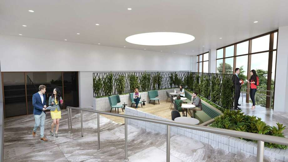 Memorial Tower I, at 1616 S. Voss, will get new seating areas including a sunken area of the lobby. CapRidge Partners is renovating Memorial Tower I and two other buildings nearby. Photo: CapRidge Partners