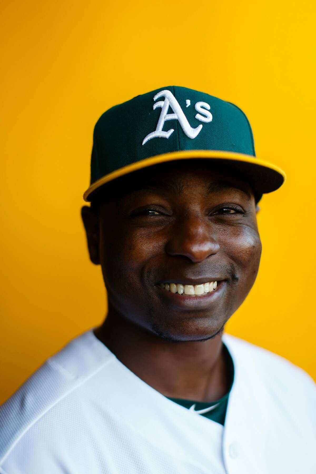 MESA, AZ - FEBRUARY 22: Jharel Cotton #45 of the Oakland Athletics poses for a portrait during photo day at HoHoKam Stadium on February 22, 2018 in Mesa, Arizona. ~~