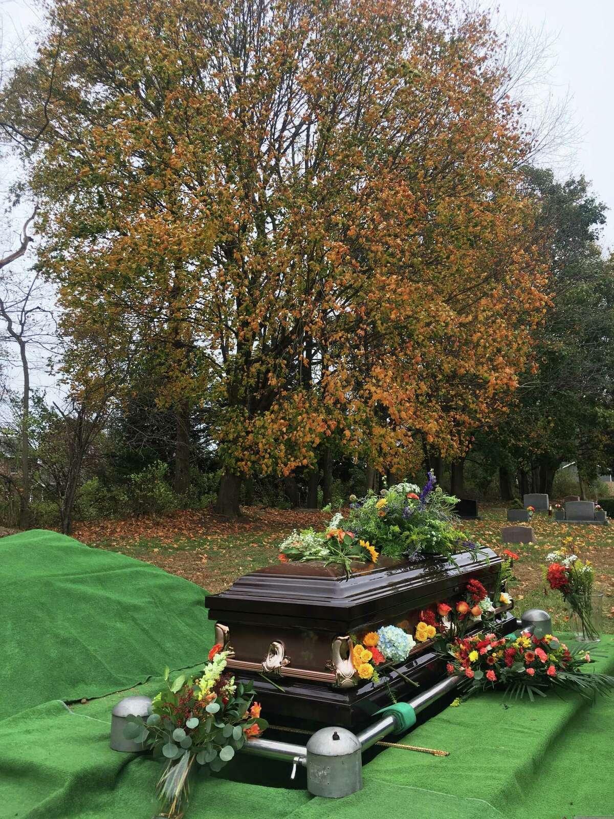 Chris Bramah's grave in Kinderhook Cemetery on Nov. 4, 2019. (Steve Barnes/Times Union.)