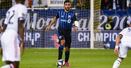 MONTREAL, QC - SEPTEMBER 18: Montreal Impact defender Victor Cabrera (2) looks at his options during the Toronto FC versus the Montreal Impact game on September 18, 2019, at Stade Saputo in Montreal, QC (Photo by David Kirouac/Icon Sportswire via Getty Images)