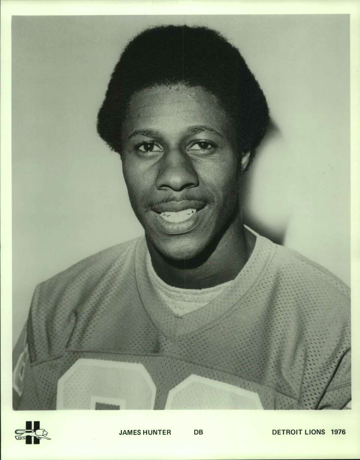 Detroit Lions' football defensive back James Hunter. 1976.