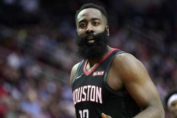 Houston Rockets' James Harden (13) reacts after being called for a foul against the Portland Trail Blazers during the second half of an NBA basketball game Monday, Nov. 18, 2019, in Houston. The Rockets won 132-108. (AP Photo/David J. Phillip)