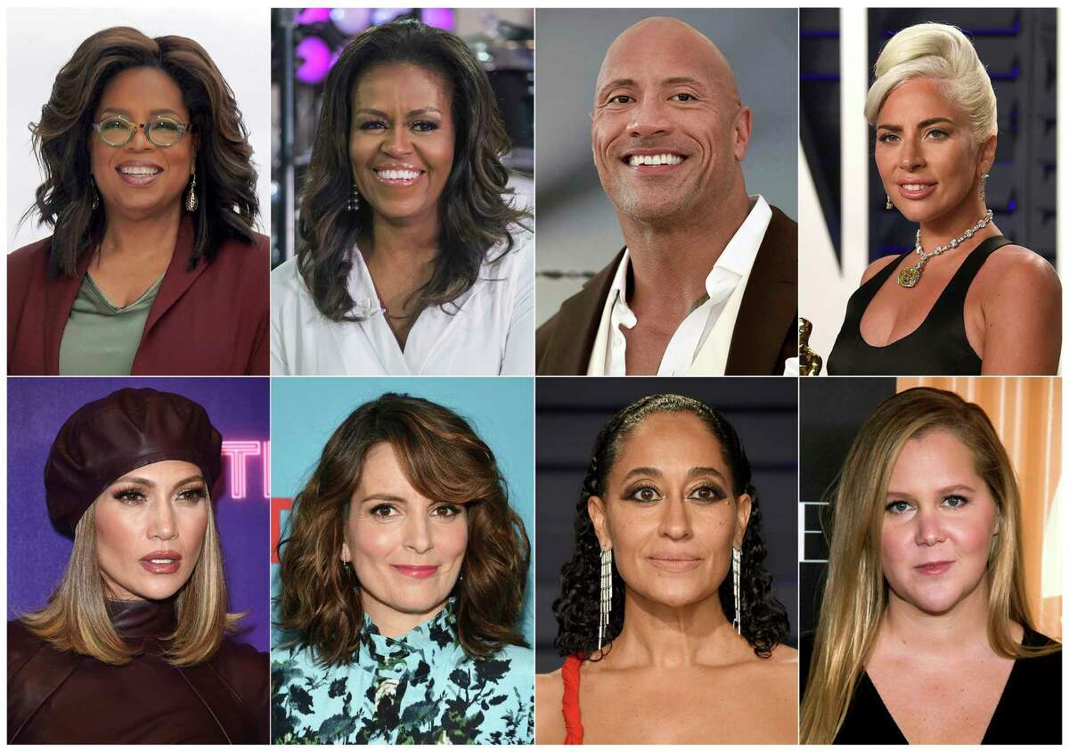 This combination photo shows, top row from left, Oprah Winfrey, former first lady Michelle Obama, Dwayne Johnson, Lady Gaga, bottom row from left, Jennifer Lopez, Tina Fey, Tracee Ellis Ross and Amy Schumer. Live Nation announced Wednesday, Nov. 20, 2019, that Winfreya€™s wellness arena tour with WW, dubbed a€œOpraha€™s 2020 Vision: Your Life in Focus,