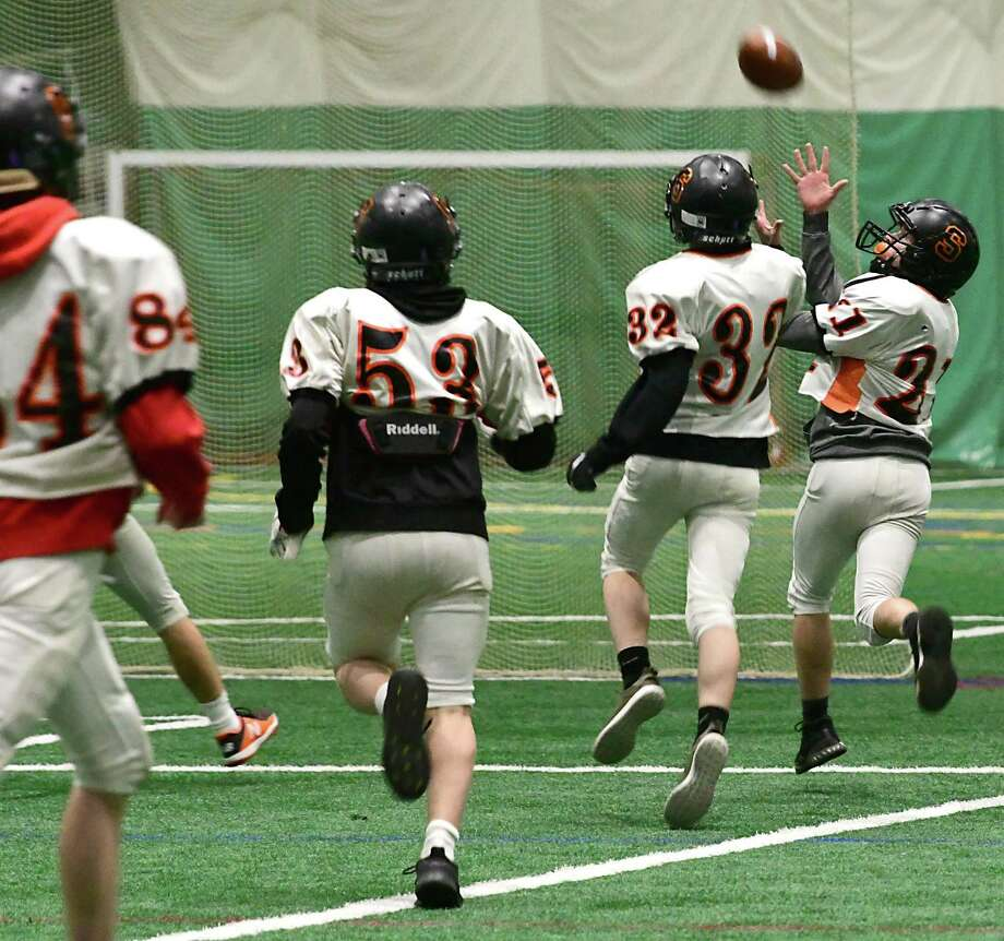 The Schuylerville football team is seen during practice in the Adirondack Sports Complex on Wednesday, Nov. 20, 2019 in Queensbury, N.Y. (Lori Van Buren/Times Union) Photo: Lori Van Buren / 40048301A