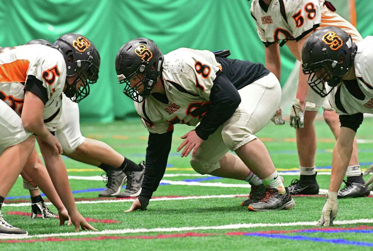 Schuylerville two-way lineman Jack Koval, center, is seen during practice in the Adirondack Sports Complex on Wednesday, Nov. 20, 2019 in Queensbury, N.Y. (Lori Van Buren/Times Union)