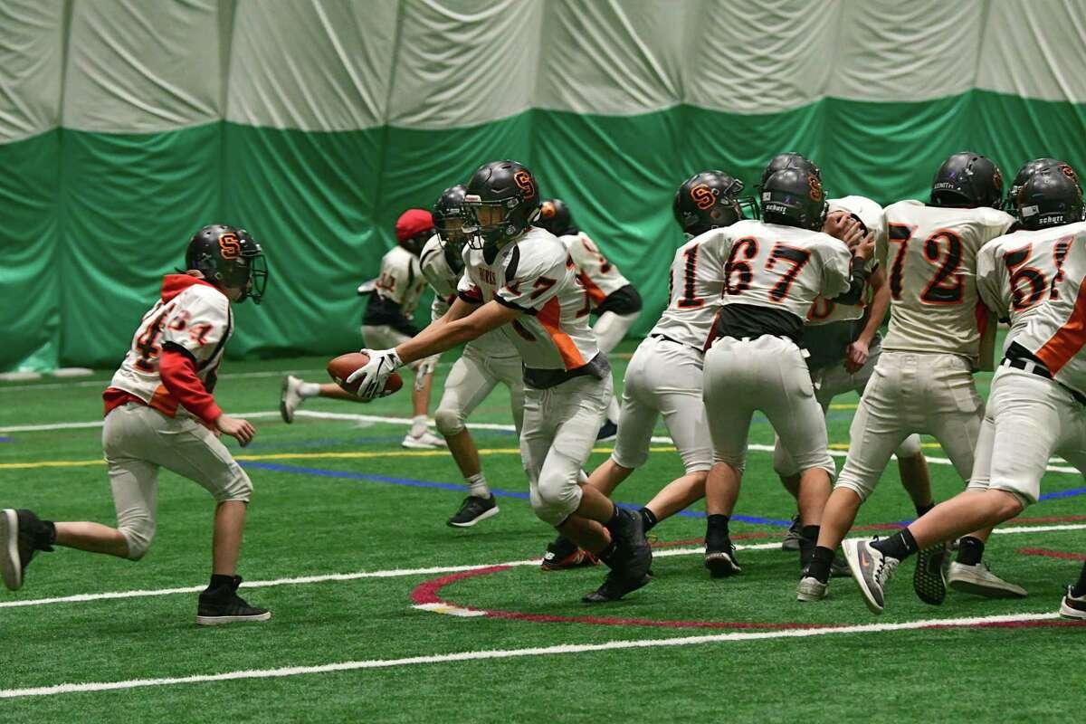The Schuylerville football team is seen during practice in the Adirondack Sports Complex on Wednesday, Nov. 20, 2019 in Queensbury, N.Y. (Lori Van Buren/Times Union)