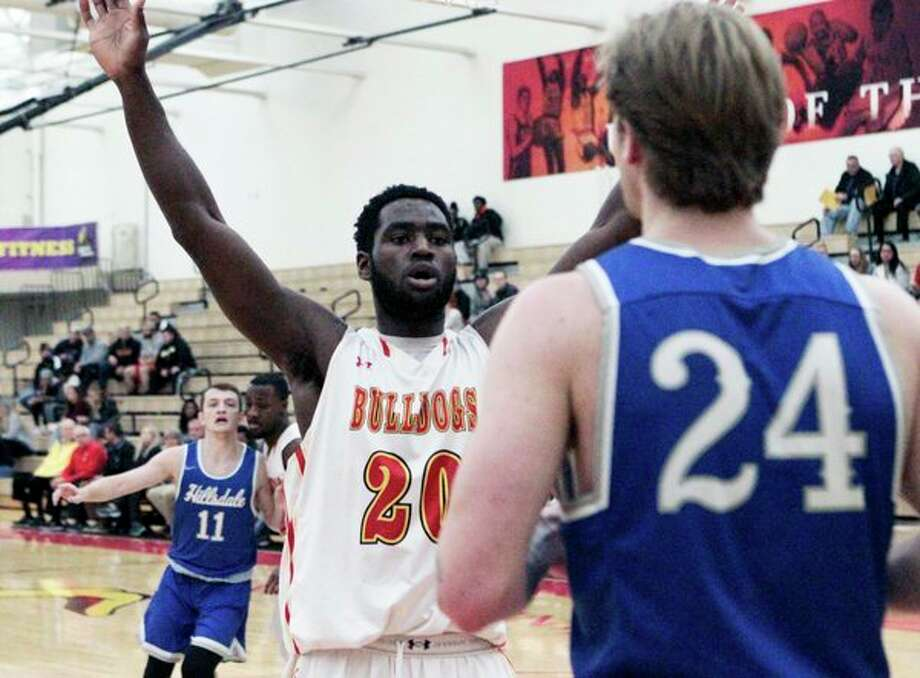 Ferris State junior Dorian Aluyi defends against an inbounds pass from Hillsdale's Austen Yarian during FSU's 82-67 win over the Chargers on Wednesday night at Jim Wink Arena. (Pioneer photo/ Joe Judd)