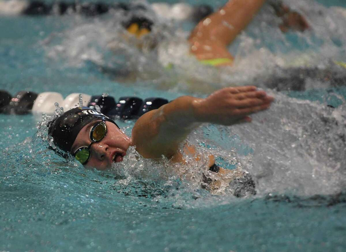 Brookfield's Kathryn Tollla competes in the 500 Freestyle at the CIAC Class M girls swimming championships at Southern Connecticut State University in New Haven, Conn. on Wednesday, November 20, 2019.