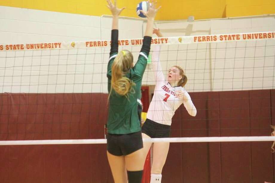 Ferris' Katie O'Connell goes up for the ball against Wisconsin-Parkside on Wednesday. (Pioneer photo/John Raffel)