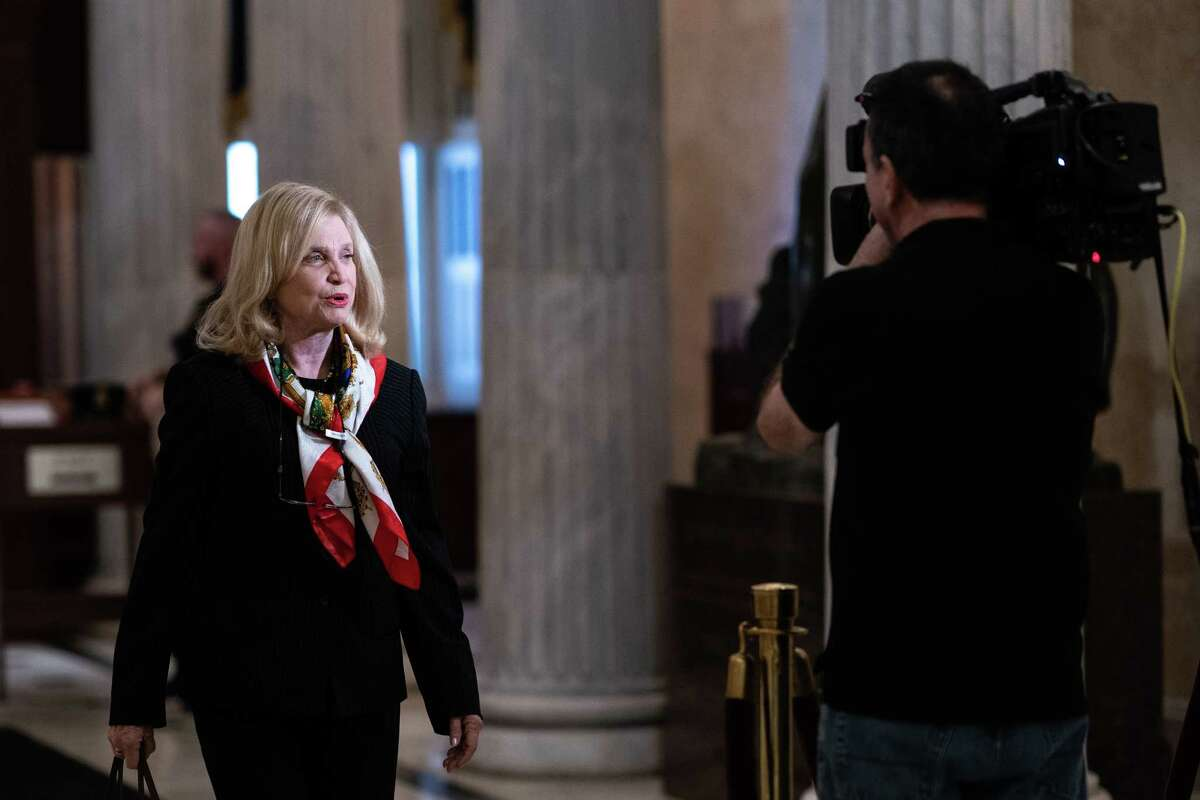 FILE -- Rep. Carolyn Maloney (D-N.Y.), on Capitol Hill in Washington, Nov. 5, 2019. Maloney has been elected to lead the Oversight and Reform Committee, joining the triumvirate of lawmakers leading the inquiry into President Donald Trumpa€™s efforts to pressure Ukraine to investigate his political rivals. (Erin Schaff/The New York Times)
