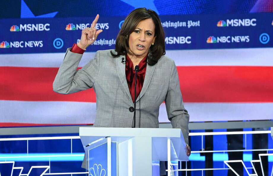 Democratic presidential hopeful California Senator Kamala Harris speaks during the fifth Democratic primary debate of the 2020 presidential campaign season co-hosted by MSNBC and The Washington Post at Tyler Perry Studios in Atlanta, Georgia on November 20, 2019. Photo: SAUL LOEB / AFP Via Getty Images