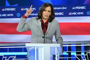 Democratic presidential hopeful California Senator Kamala Harris speaks during the fifth Democratic primary debate of the 2020 presidential campaign season co-hosted by MSNBC and The Washington Post at Tyler Perry Studios in Atlanta, Georgia on November 20, 2019. (Photo by SAUL LOEB / AFP) (Photo by SAUL LOEB/AFP via Getty Images)