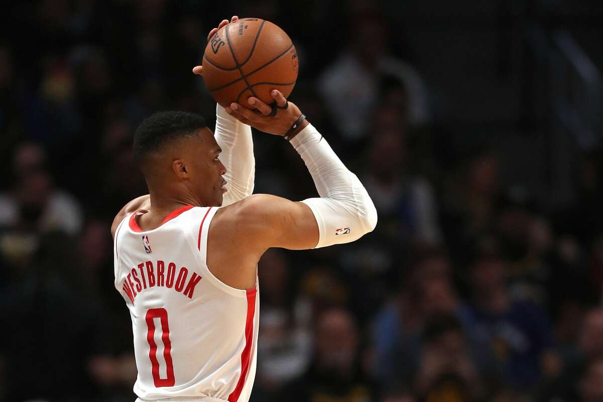 DENVER, COLORADO - NOVEMBER 20: Russell Westbrook #0 of the Houston Rockets puts up a shot against the Denver Nuggets in the fourth quarter at the Pepsi Center on November 20, 2019 in Denver, Colorado. NOTE TO USER: User expressly acknowledges and agrees that, by downloading and or using this photograph, User is consenting to the terms and conditions of the Getty Images License Agreement. (Photo by Matthew Stockman/Getty Images)