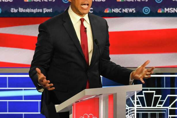 Presidential candidate Sen. Cory Booker, D-N.J., speaks during the Democratic presidential debate on Wednesday in Atlanta.