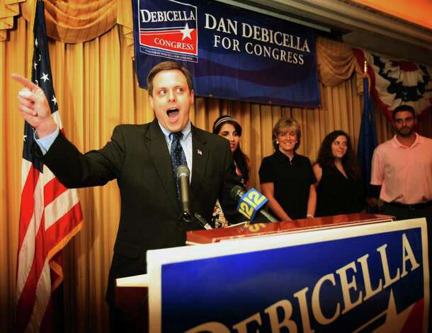 Supported by members of his family, Dan Debicella gives his victory speech in the 4th Congressional District Republican primary at the Norwalk Inn in Norwalk on Tuesday night, August 10, 2010. Photo: Brian A. Pounds / Connecticut Post