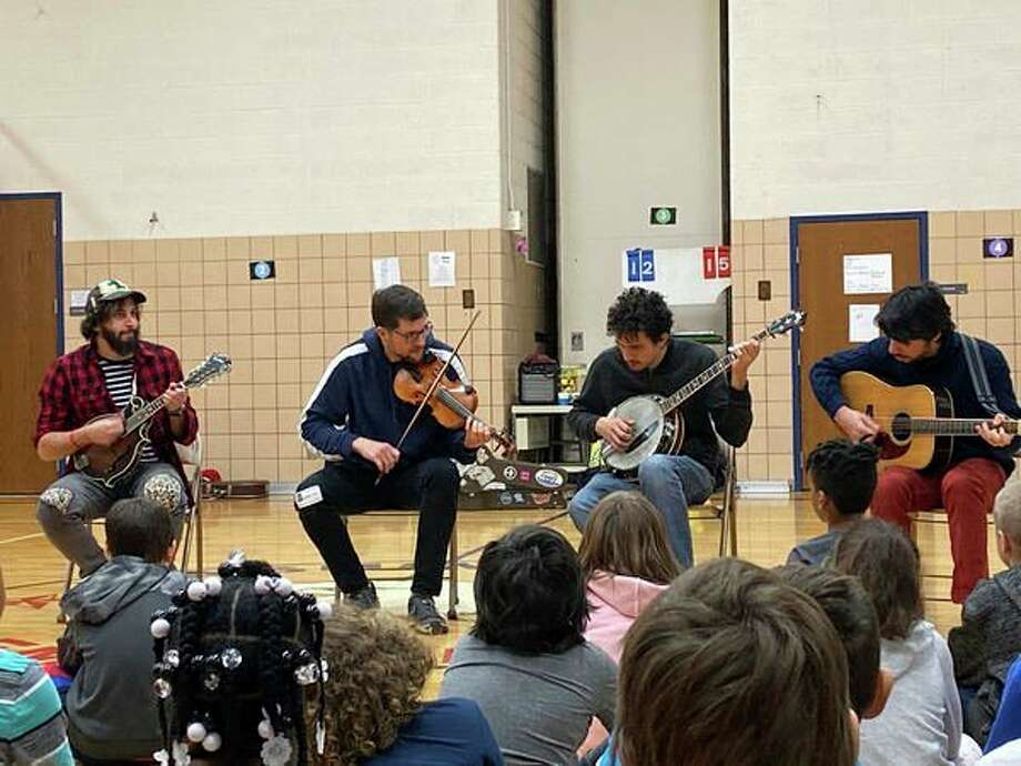 Students at Washington Elementary School experienced a performance by Che Apalache. (Photo provided/MCFTA)
