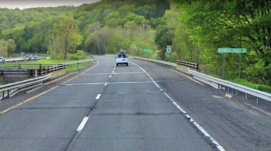 The state Department of Transportation will hold a public hearing on the rehabilitation - or replacement - of a 55-year-old Route 8 bridge in Thomaston that is in poor condition. Photo: Google Street View Image